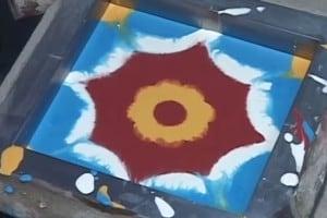Płytki cementowe - farba w formie