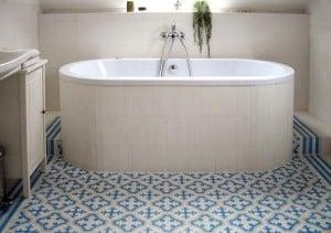 Płytki cementowe Kolory Maroka - aranżacja w łazience