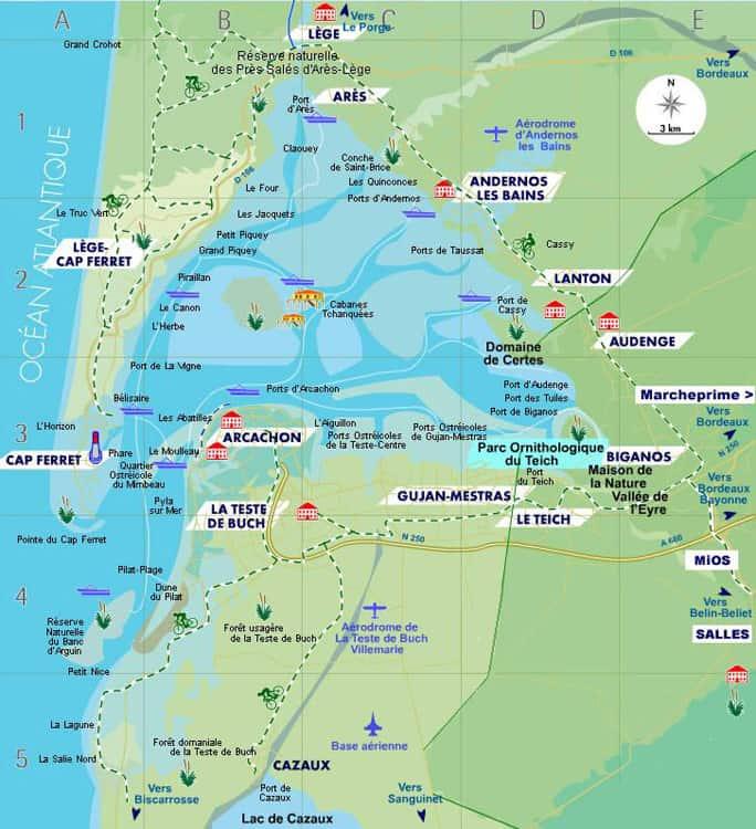 Mapa Zatoki Arcanchon