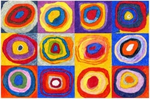 "Wassily Kandinsky, etiuda kolorystyczna z cyklu ""Circles)"