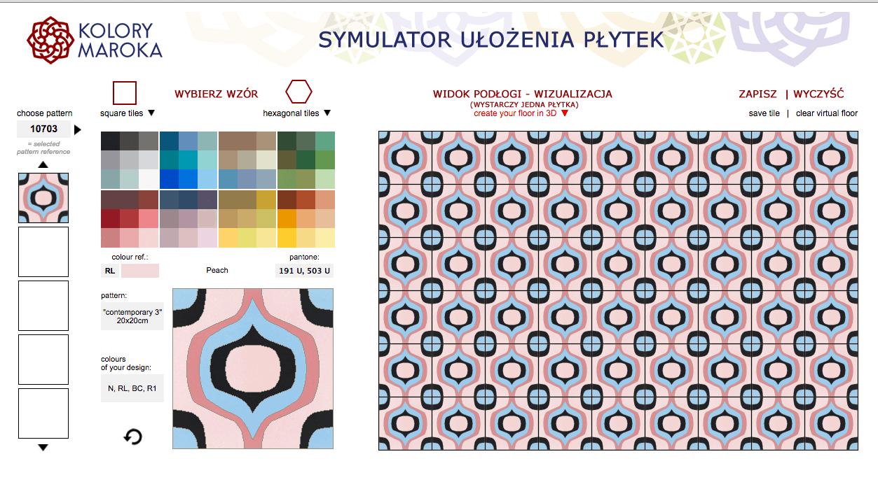 Rose Quartz i Sarenity - Kolory Roku 2016 wg Instytutu PANTONE zastosowane w symulatorze sklepu Kolory Maroka, służacego do samodzielnego projektowania płytek cementowych