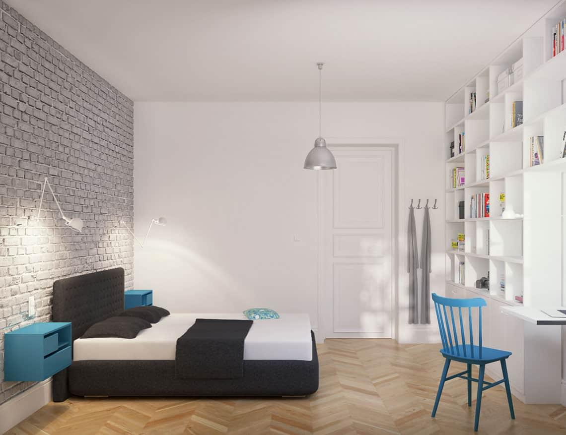 Sypialnia na Powiślu zaprojektowany przez EG Projekt