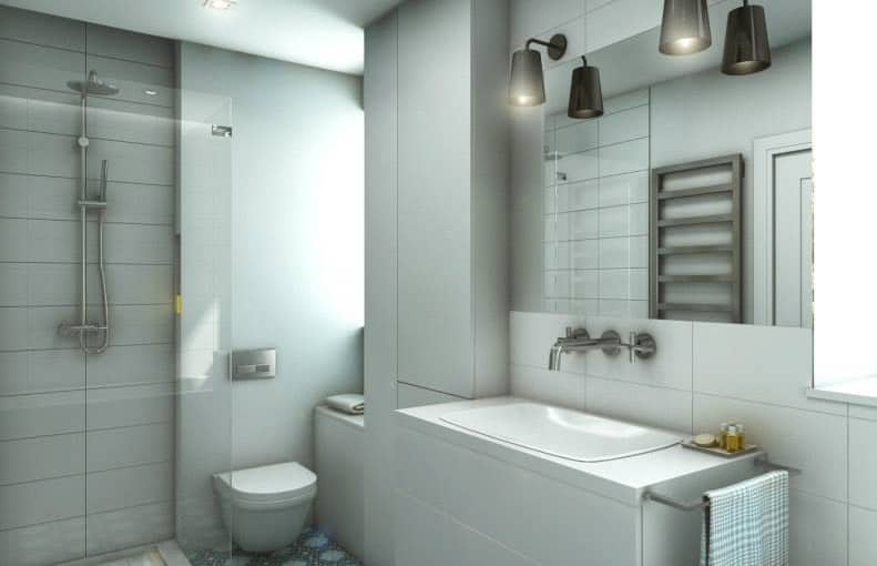 Łazienka z płytkami cementowymi BADA – wizualizacje studia EG Projekt