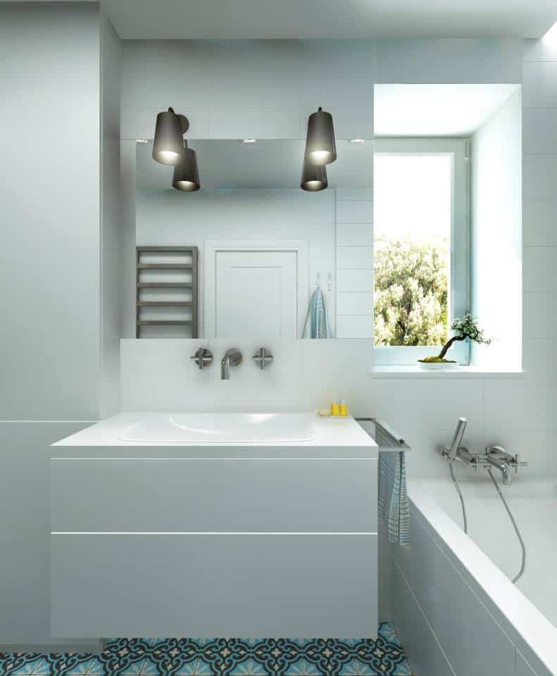 łazienka Z Płytkami Cementowymi Bada Wizualizacje Studia
