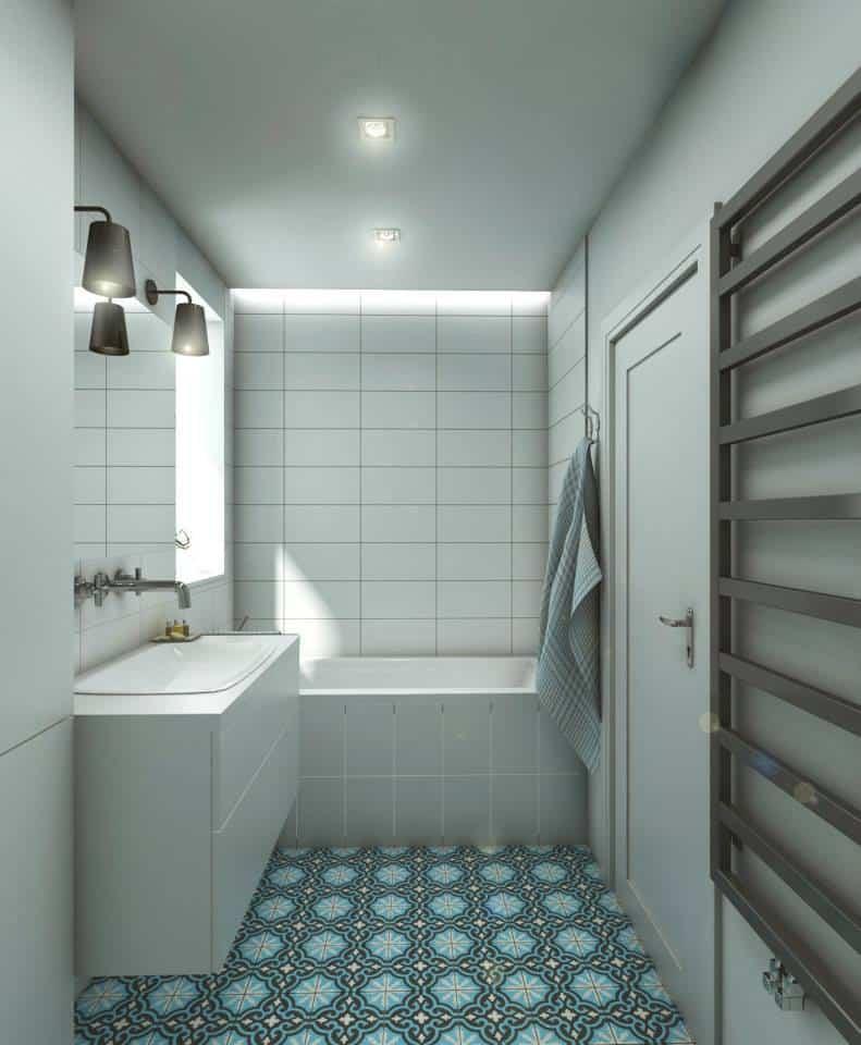 Eg Projekt Szaro Błękitna łazienka Widok Na Wannę