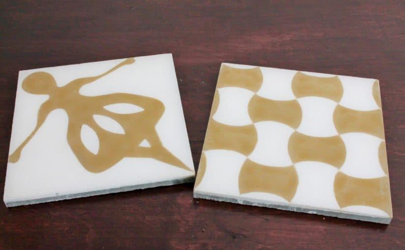 Płytki cementowe o barwie złota