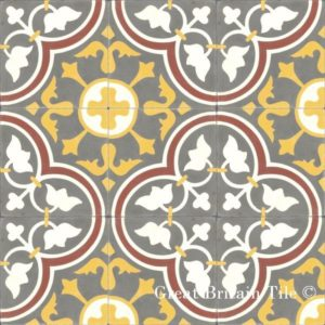 Płytki cementowe ze wzorem dużych rozet i złotym kolorem