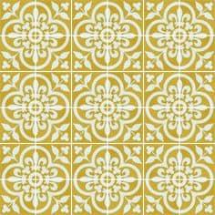 Tradycyjny wzór normandzki na płytkach cementowych w kolorze złotym