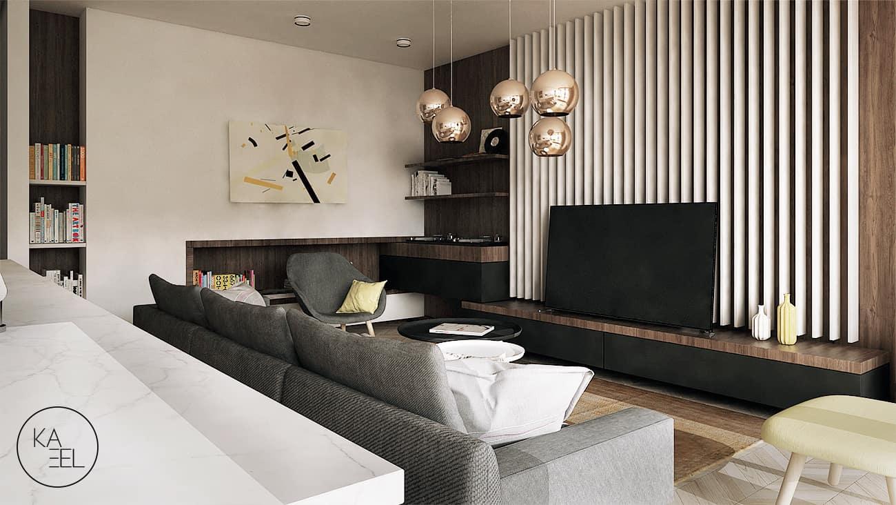 Salon zaprojektowany przez KAEEL.GROUP-ARCHITEKCI