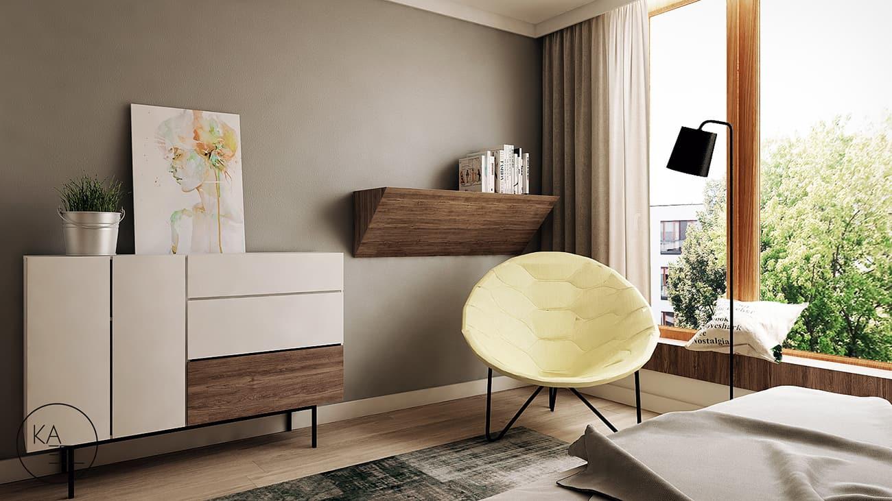 Sypialnia zaprojektowana przez KAEEL.GROUP-ARCHITEKCI