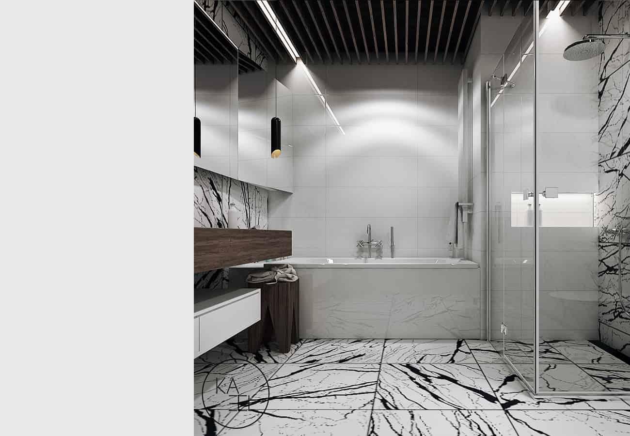 Łazienka zaprojektowana przez KAEEL.GROUP-ARCHITEKCI