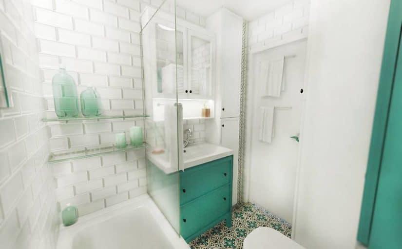 Turkusowa płytka cementowa Marino w małej łazience