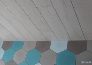 Patchwork z heksagonalnych płytek cementowych ze sklepu Kolory Maroka; proj. Edyta Utlińska
